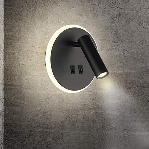 KAYIMAN Bañador de pared Dormitorio Interruptor volvible apliques de lectura de pared cama Iluminación de Pared cabecera 360 gradosgiratoria Blanco/Blanco Cálido 3000K (3W + 9W) (Ronda Negra)