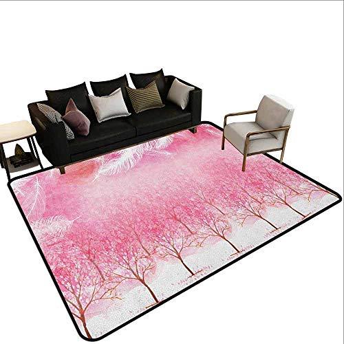 MsShe Transparant bedrukte deurmat Roze Zebra,Toucan Vogel Zittend op Hibiscus Plants Bloemen Grote Bladeren op Zebra Achtergrond, Multi kleuren