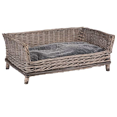 RM E-Commerce Rectangular Wicker Dog Bed with Cushion for Large and Small Dogs 88 cm Wide Grey