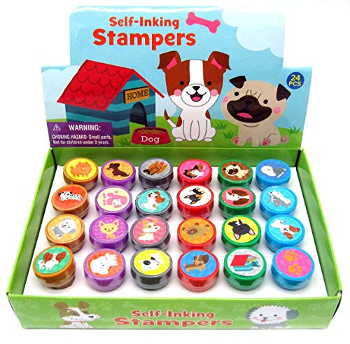 Tiny Mills 24 Pcs Dog and Puppies Stampers for Kids Assorted Stamps for Kids Self Ink Stamps Dog Puppy Birthday Party, Puppy Party Favors, Goody Bag Filler Treats, Classroom Rewards