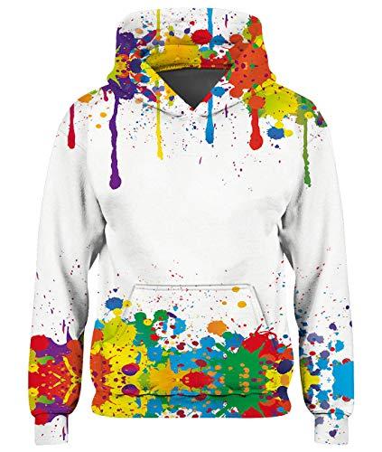 Goodstoworld Paint 3D Hoodie Kinder Mädchen Jungen Pullover Coole Druck Lange Ärmel Bunt Kapuzenpullover Sweatshirt Kleider Bunte 6-7 Jahre