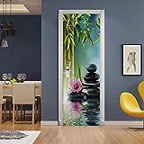 SMHCHA 3d Pegatinas de Pared Zen y bambú 77X200CM Creativo mural de puerta Vinilo Impermeable Autoadhesivo Removible Papel Tapiz PVC Murales Posters Decoraciones