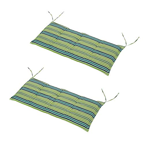 Outsunny Set of 2 Outdoor Garden Patio 2-3 Seater Bench Swing Chair Cushion Seat Pad Mat Replacement 120L x 50W x 5T cm - Green Stripes