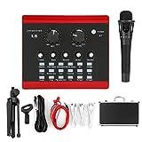 Plyisty L8 ABS Red Live Broadcast Sound Card Set 1200MAH Teléfono móvil Juego de computadora Versión en inglés con 12 Tipos de Efectos de Sonido y 6 Tipos de Efectos de Sonido ambientales