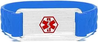 Silicone Sports Medical Alert ID Bracelet Blue - Custom Engraving Stainless Steel Line Alert ID Tag