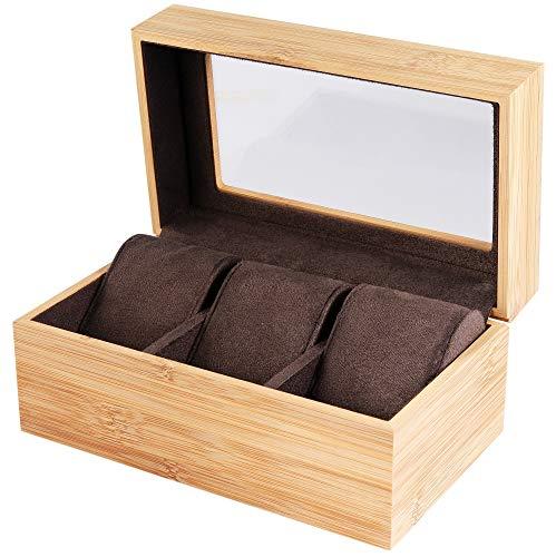 Uhrenetui Uhrenkasten Uhrenbox für 3 Uhren aus Bambus Holz mit Sichtfenster