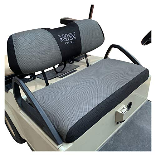 10L0L Golf Cart Seat Cover Set Fit for Club Car DS Precedent & Yamaha, Breathable Bench Seat Covers Keep The Seats Cool in The Summer Heat Washable Polyester Mesh Cloth Gray and Black - Large