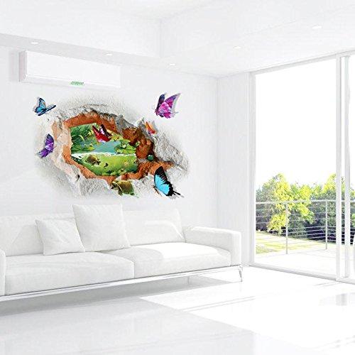 Nieuwe 3D stereowall pasta scape vlinder stream buiten het gat Home decoratie kan worden verwijderd