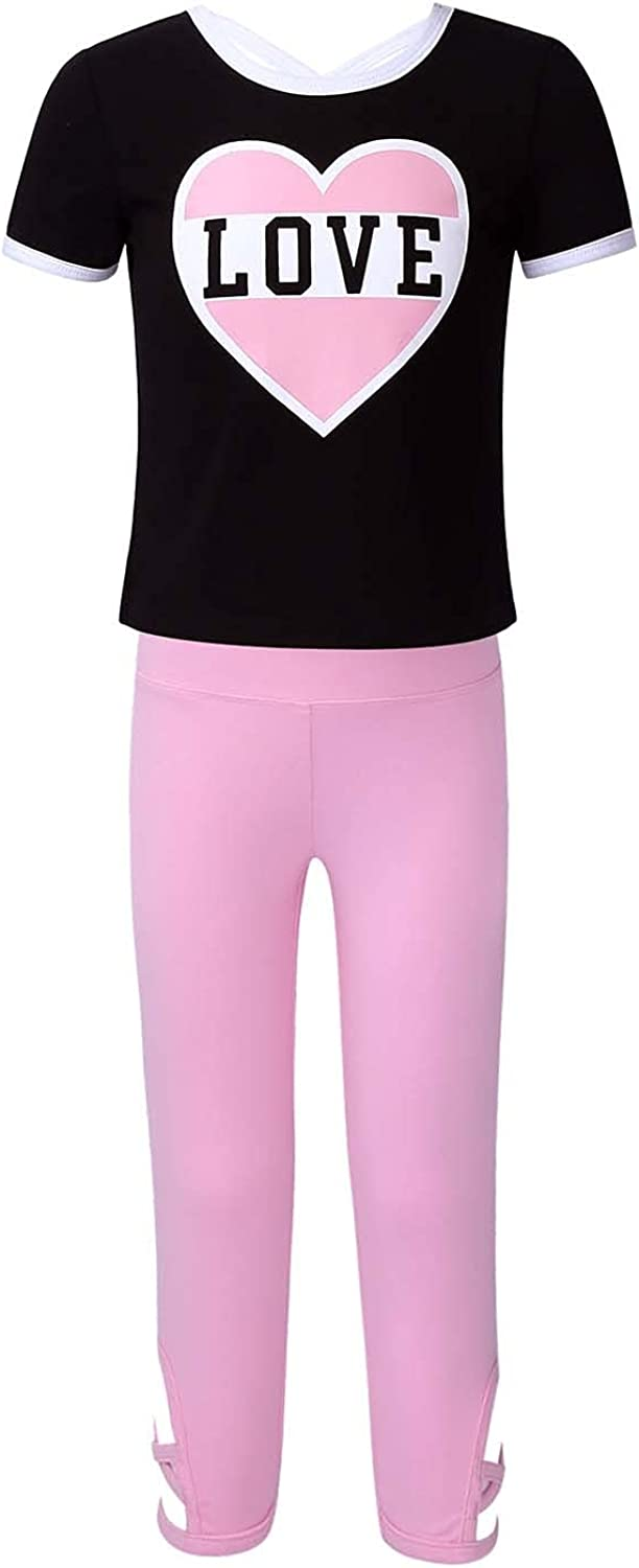 easyforever Girls Summer Outfits Short Sleeves Cross Back Pink Heart and Letter Pattern T-Shirt and Soft Leggings