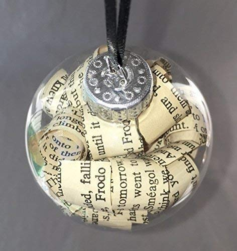 Lord of the Rings Book Glass Christmas Tree Ornament