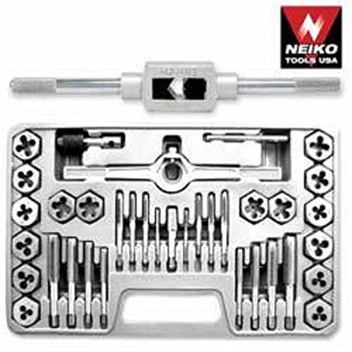 Nieko 40 Piece Professional Metric Mm Size Inch Steel Tap & And Die Tool Set Kit