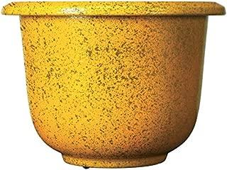 Novelty Round Glazetone Planter, 14-Inch, Marigold