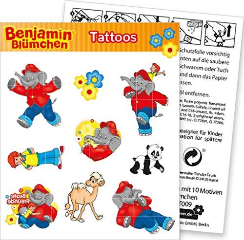 DH-Konzept 9-TLG. Tattoo-Set * Benjamin BLÜMCHEN * als Mitgebsel oder Geschenk | Sticker Bilder Kinder Kindergeburtstag Geburtstag Mädchen Törööö Elefant