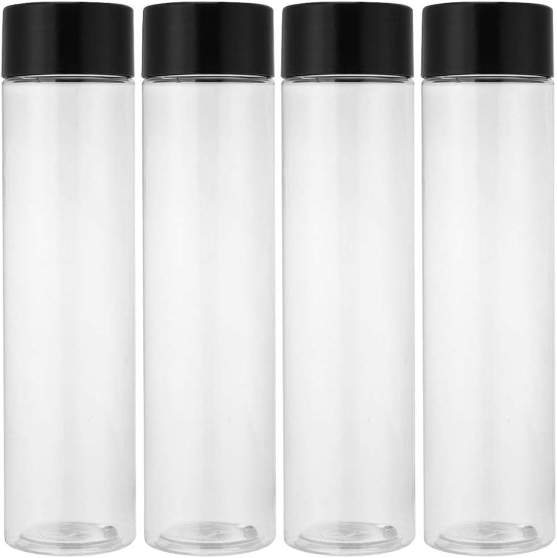 UKCOCO Botellas de zumo desechables de PET, transparentes, desechables, con tapas negras a prueba de manipulación, para licuadoras de agua/naranja y limón (12 unidades)