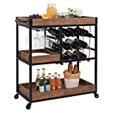 Industrial Bar Cart Kitchen Bar&Serving Cart for Home with Wheels 3 -Tier Storage Shelves Portable Wine/Liquor/Tea/Beverage Carts