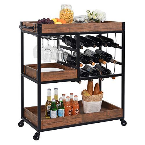 CharaVector Estantería de almacenamiento de 3 niveles con soporte para vasos y 12 botellas de vino, marco de metal, estilo industrial