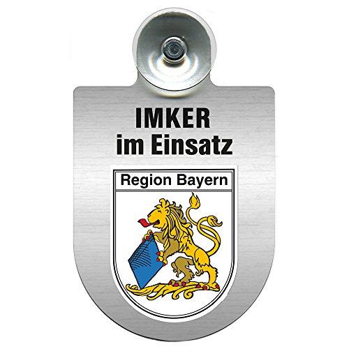 Einsatzschild mit Saugnapf - Imker im Einsatz 309382 incl. Regionenwappen nach Wahl Farbe Region Bayern
