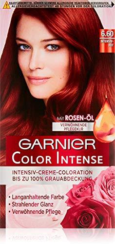 Garnier Color Intense 6.60 Intensivrot, Dauerhafte Intensive Haarfarbe mit Perlmutt und Rosenöl, Haarfarbe rot (3 Stück)