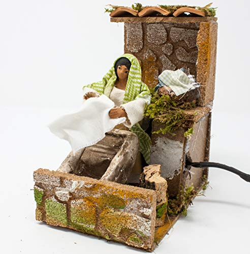 Joy Christmas Pastore Per Presepe In Movimento 14 Cm X 9 Cm Lavandaia Con Pila 46508