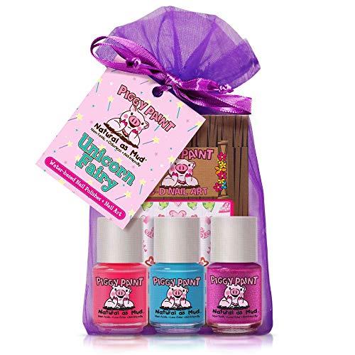 Piggy Paint - 100% Non-toxic Girls Nail Polish, Safe, Chemical Free, Low Odor for Kids - 3 Polish Gift Set (Unicorn Fairy)