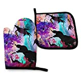PEKIVIDE Funny Dinosaur Alien Abduction UFO Trex Oven Mitts and Pot Holders Set 2pcs Kitchen Tools Heat Resistant Kitchen Microwave Gloves for Cooking Baking BBQ