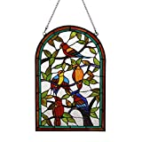 Makenier Vintage Art Nouveau Tiffany Style Stained Glass Arch Parrot Bird Window Hanging Window Panel Widnow Pane Window Wall Decor Decoration