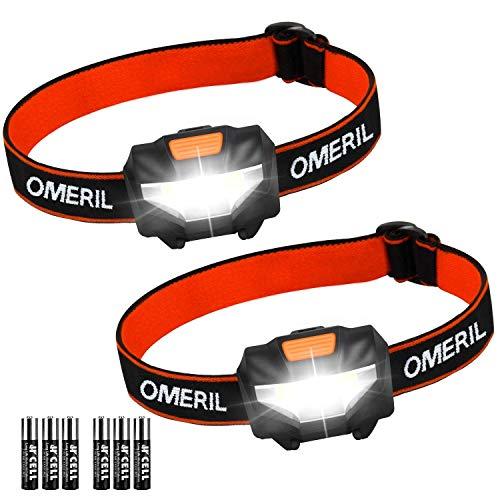 OMERIL Linterna Frontal LED (2 Pack), Super Brillante Linterna Cabeza (6 Pilas...
