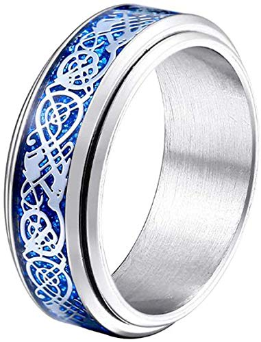 HIJONES Unisex Carbide Fiber Celtic Dragon Spinner Ring Stainless Steel Wedding Spins Band Silver Blue Size 9