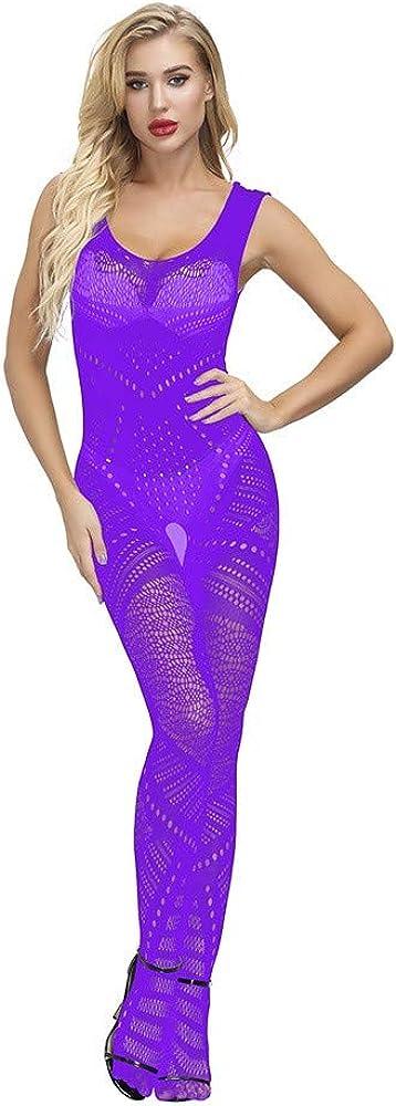 Women Lingerie See Through Fishnet Teddy Babydoll Short Sleeve One Piece Jumpsuit Nightwear Sleepwear Bodysuit