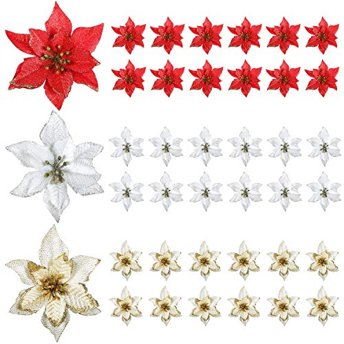WILLBOND 45 Pieces Christmas Poinsettia Decorations Glitter Artificial Christmas Flowers for Xmas Tree Ornaments, 5 Inch (Multicoloured)