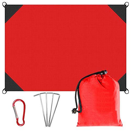 ZOOYAUE Picknickdecke 140 x 150 cm Stranddecke Wasserdicht sandabweisende Waschbare Nylon Packable Blanket mit 4 Zeltstöpsel
