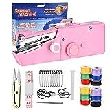 Mini máquina de coser de mano, máquina de coser de mano USB portátil Macllar para niños principiantes con 12 bobinas de hilo, cinta métrica