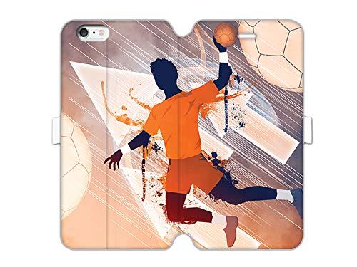 etuo Hülle für Apple iPhone 6 - Hülle Wallet Book Fantastic - Handball Handyhülle Schutzhülle Etui Case Cover Tasche für Handy