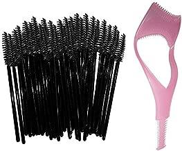 Disposable Eyelash Mascara Wands Brush Set Black -FREE Mascara Shield Applicator Guard Guide Comb & Beauty eBook Eyelash Extension Spoolies Applicators. 50 pc bulk pack - By New8Beauty