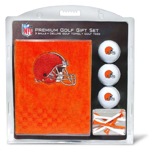 Team Golf NFL Cleveland Browns Gift Set Embroidered Golf Towel, 3 Golf Balls, and 14 Golf Tees 2-3/4