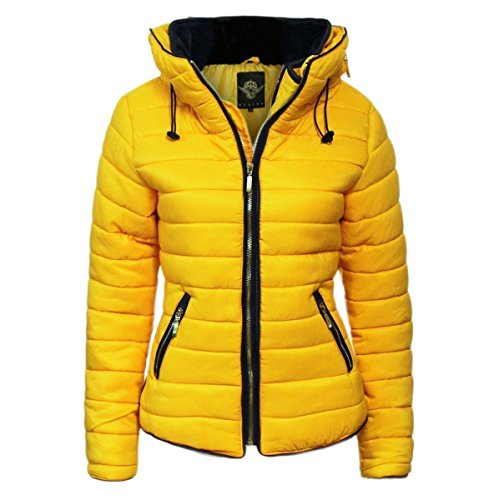FLIRTY WARDROBE Womens gele mosterd gewatteerde gevoerde Puffer Bubble kraag warme dikke jas