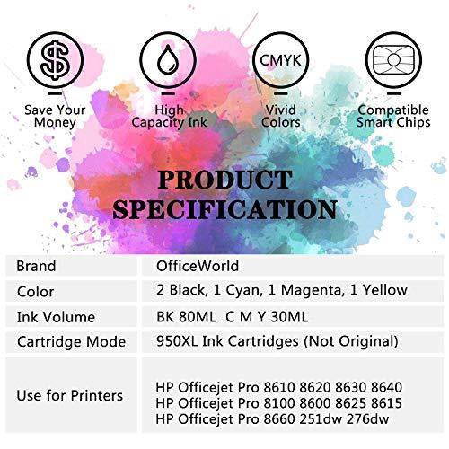 OfficeWorld 950XL 951XL Reemplazo para HP 950 951 Alta Capacidad Cartuchos de tinta Totalmente compatible con HP Officejet Pro 8600 Plus 8600 8610 8620 8630 8640 8660 8100 8615 8625 251dw 276dw