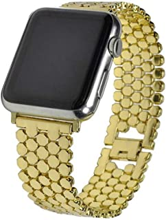 ZHAXAOO AU Applicable to apple fish scale metal strap i watch solid chain stainless steel belt new honeycomb belt