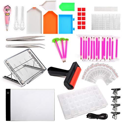 Dimmbare Leuchtbox, Diamant-Malerei-Set, Diamant-Malwerkzeuge, inklusive A4-LED-Licht-Pad, Klebestift, 28 Fächer, Aufbewahrungsbox für Strass-Stickerei, Kristall-Kreuzstich, Zeichnung, Skizzieren