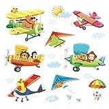 DECOWALL DA-1506BC Biplanos de Animales con Ala Delta Vinilo Pegatinas Decorativas Adhesiva Pared Dormitorio Salón Guardería Habitación Infantiles Niños Bebés