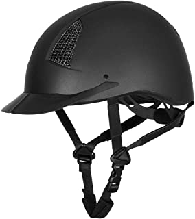 TuffRider Starter Horse Riding Helmet with Carbon Fiber Grill| Schooling Protective Head Gear for Equestrian Riders - SEI Certified, Tough and Durable - Black
