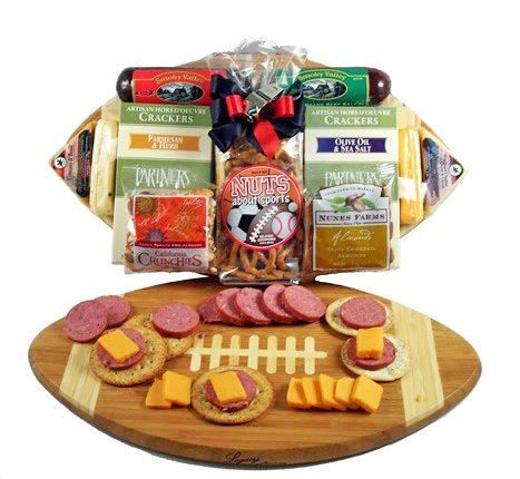 Meat and Cheese Gift Assortment on a Football Cutting Board | Size Medium