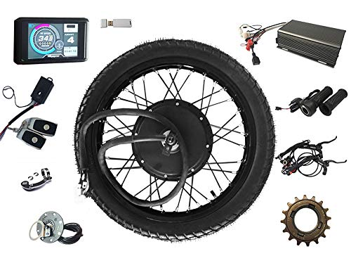 "NBpower Hydraulic Brake !QS V3 205 Motorcycle 17"" 18"" 19"" 21"" 72v 5000W Ebike Rear Motorwheel with tire, 72V 100A Sabvoton Controller with Bluetooth PAS and Alarm,Matching (17inch Rear)"