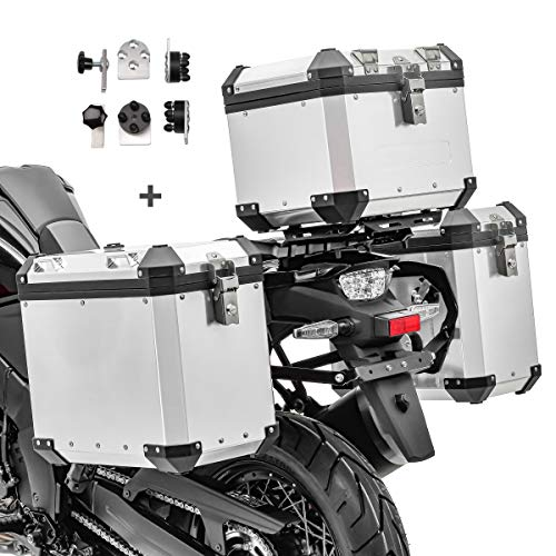 Motorrad Alukoffer Set/Aluminium Seitenkoffer GX38 + Topcase GX33 Silber