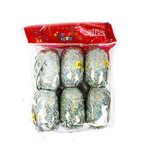 ALENAOO Großhandel Vielzahl von Ballon Band DIY Geburtstagsgeschenk Verpackung Laser Band Party Dekoration Hochzeit Urlaub Zubehör Band, 6 Rollen Silber