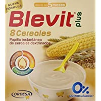 Blevit Plus 8 Cereales para bebé, 1 unidad 600 gr. A partir de los 5 meses, contiene gluten.