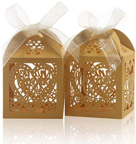 COTOPHER Laser Cut Boxes 100pcs Thank You Gift Boxes Wedding Party Favor Boxes Lace Candy Boxes product image