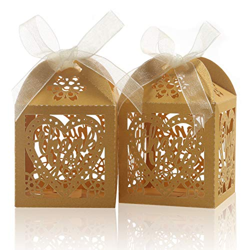 Laser Cut Boxes,COTOPHER 100pcs Thank You Gift Boxes Wedding Party Favor Boxes Lace Candy Boxes for Wedding Bridal Shower Baby Shower Birthday Party Decorations with Ribbons (Gold, 100)