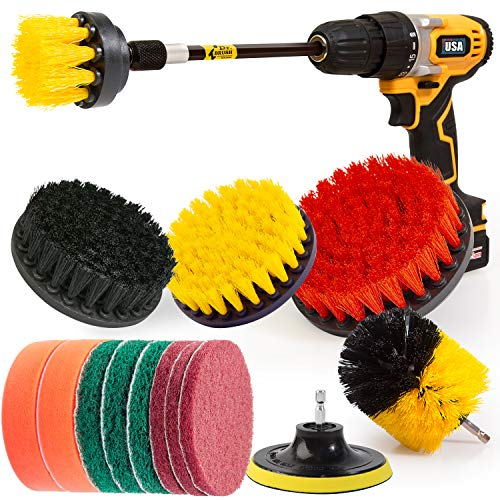 Holikme 15Piece Drill Brush Attachments Set, Scrub Pads & Sponge,Buffing Pads,Power Scrubber Brush with Extend Long Attachment,Car Polishing Pad Kit