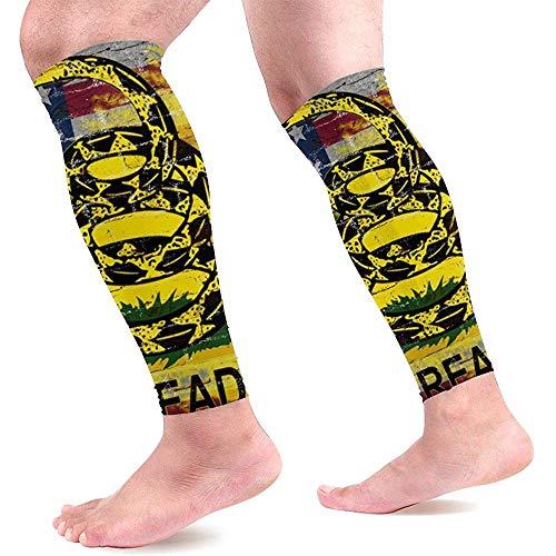 Don't Tread On Me Amerikaanse vlag kalf compressie mouwen Unisex been compressie sokken voor hardlopen fietsen 1 paar
